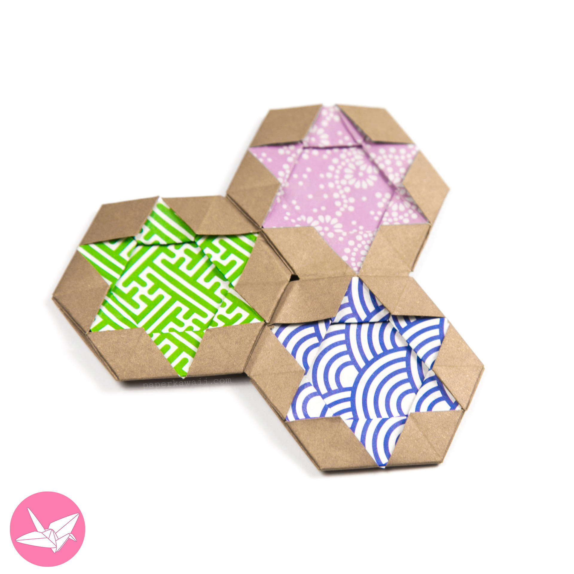 Origami bamboo letterfold folding instructions - Origami Star Of David Hexagram Coaster Tiles Tato