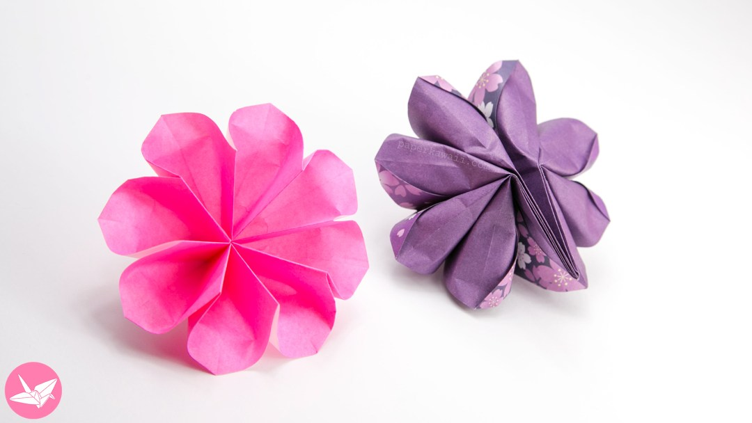 Easy 8 petal origami flower tutorial paper kawaii final model size 8 x 8 cm mightylinksfo