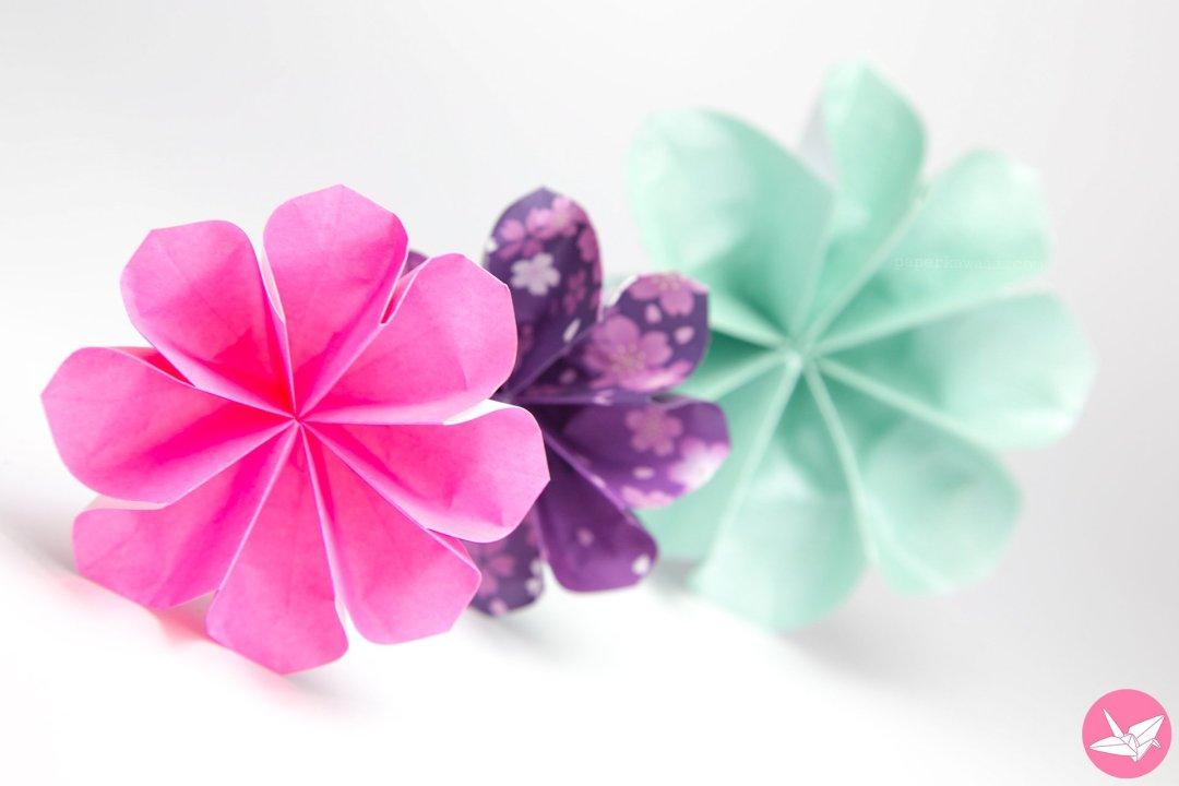 easy 8 petal origami flower tutorial paper kawaii