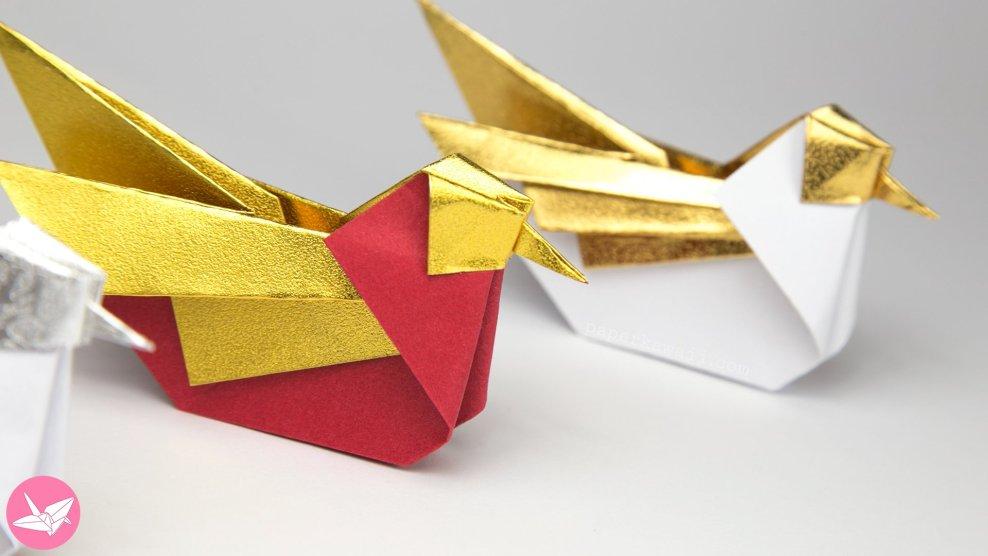 Origami Bird Tutorial - Mandarin or Seagull - Simon Andersen via @paper_kawaii