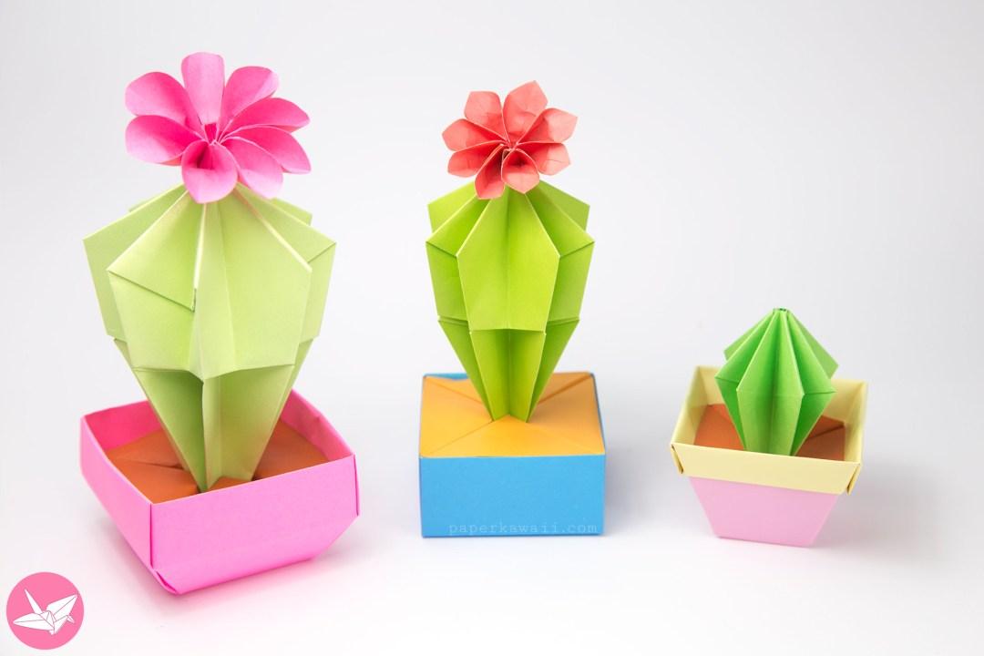 Origami Cactus Flower Tutorial Paper Kawaii