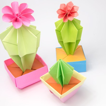 Origami Cactus & Flower Tutorial via @paper_kawaii