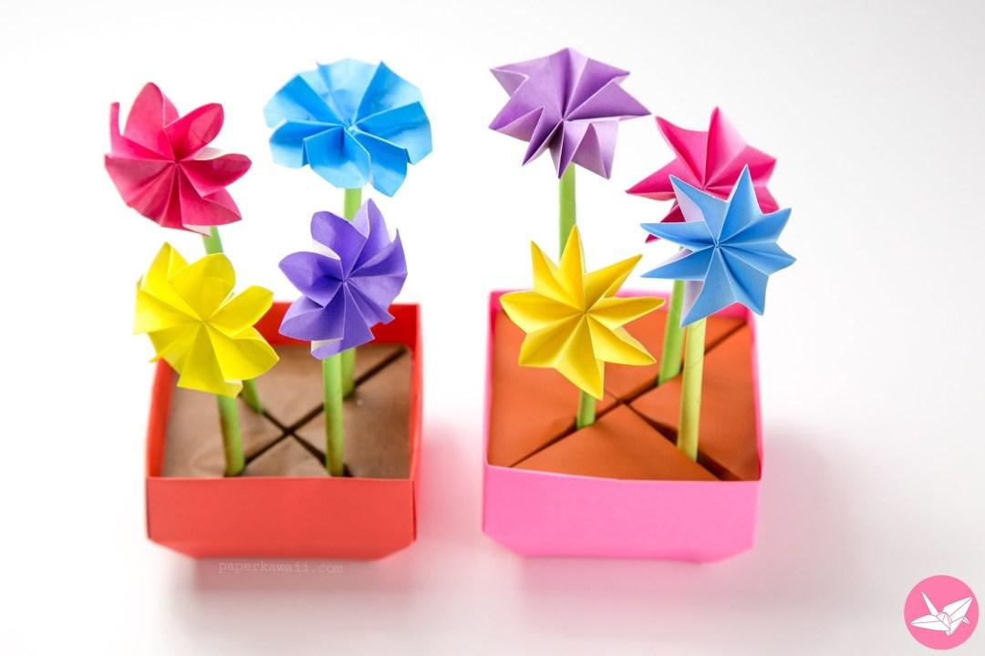 origami flower pot  u0026 stem holder tutorial