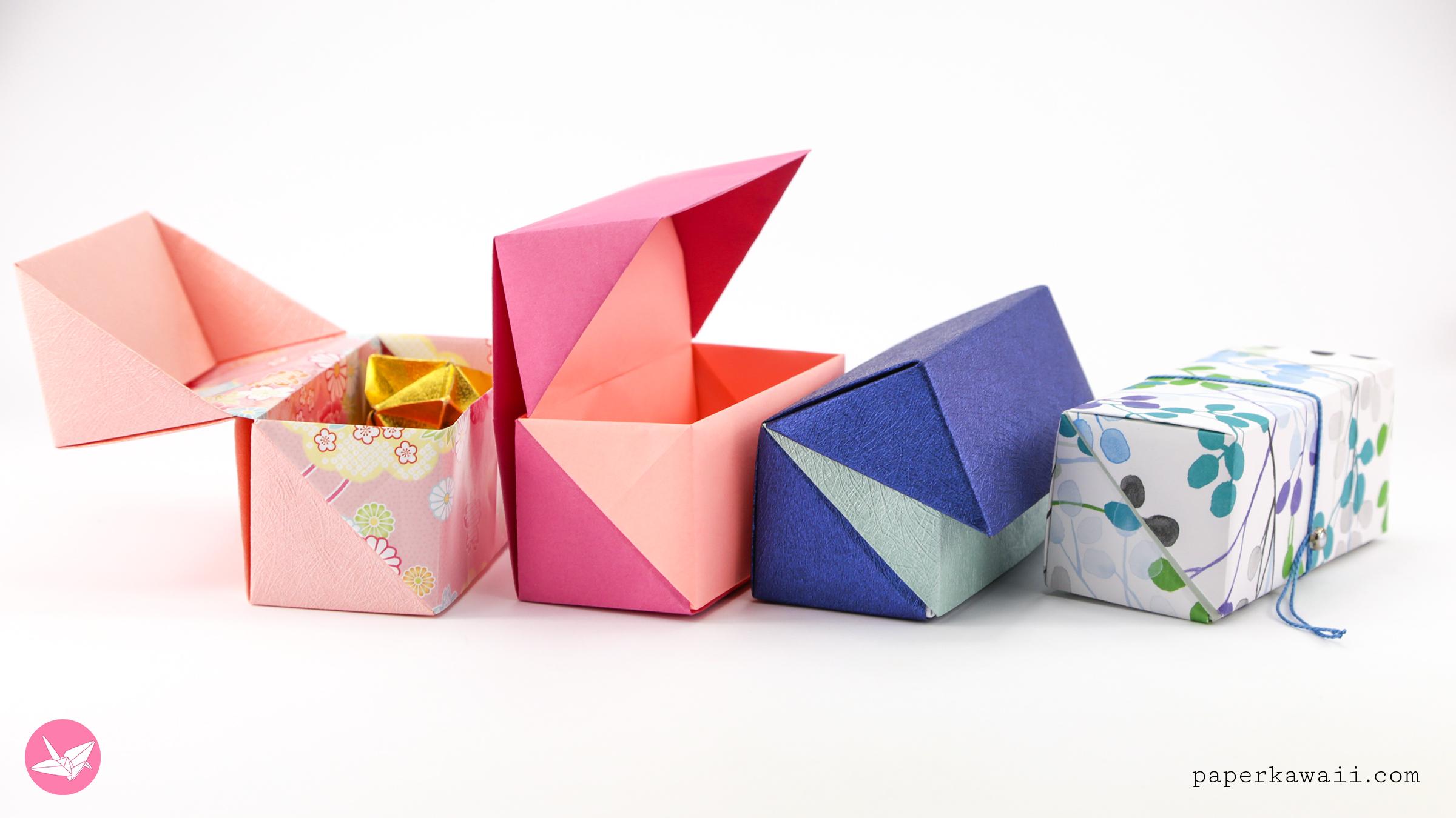 How to Make a Square Origami Box and Lid -Masu Box | 1350x2400