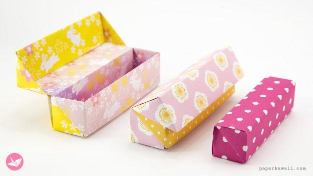 Origami Long Hinged Gift Box Tutorial – Pencil Box
