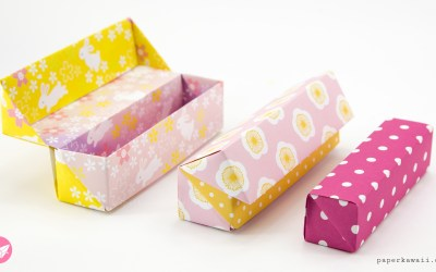 Origami Long Hinged Gift Box Tutorial – Pencil Box
