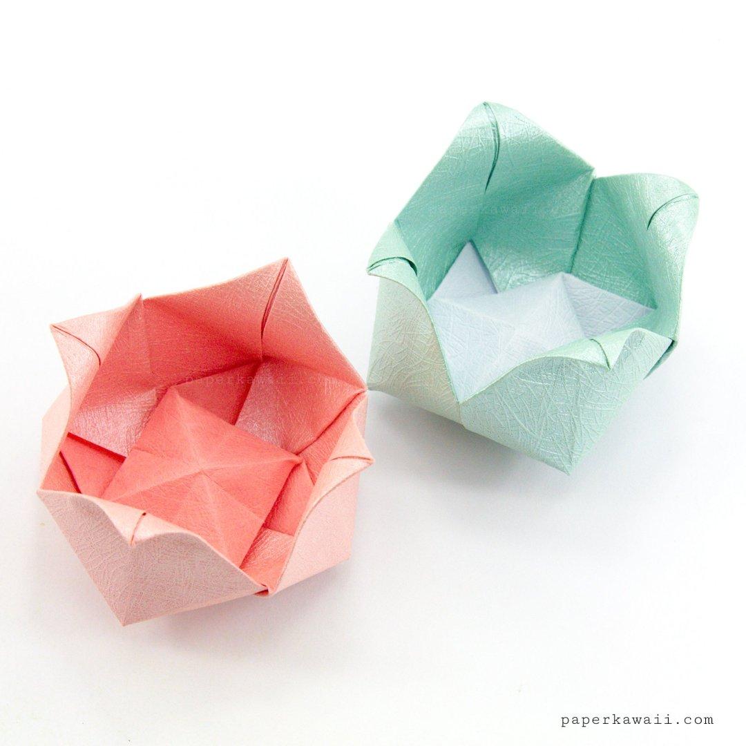 Origami Pinwheel Flower Bowl Tutorial - Paper Kawaii - photo#11
