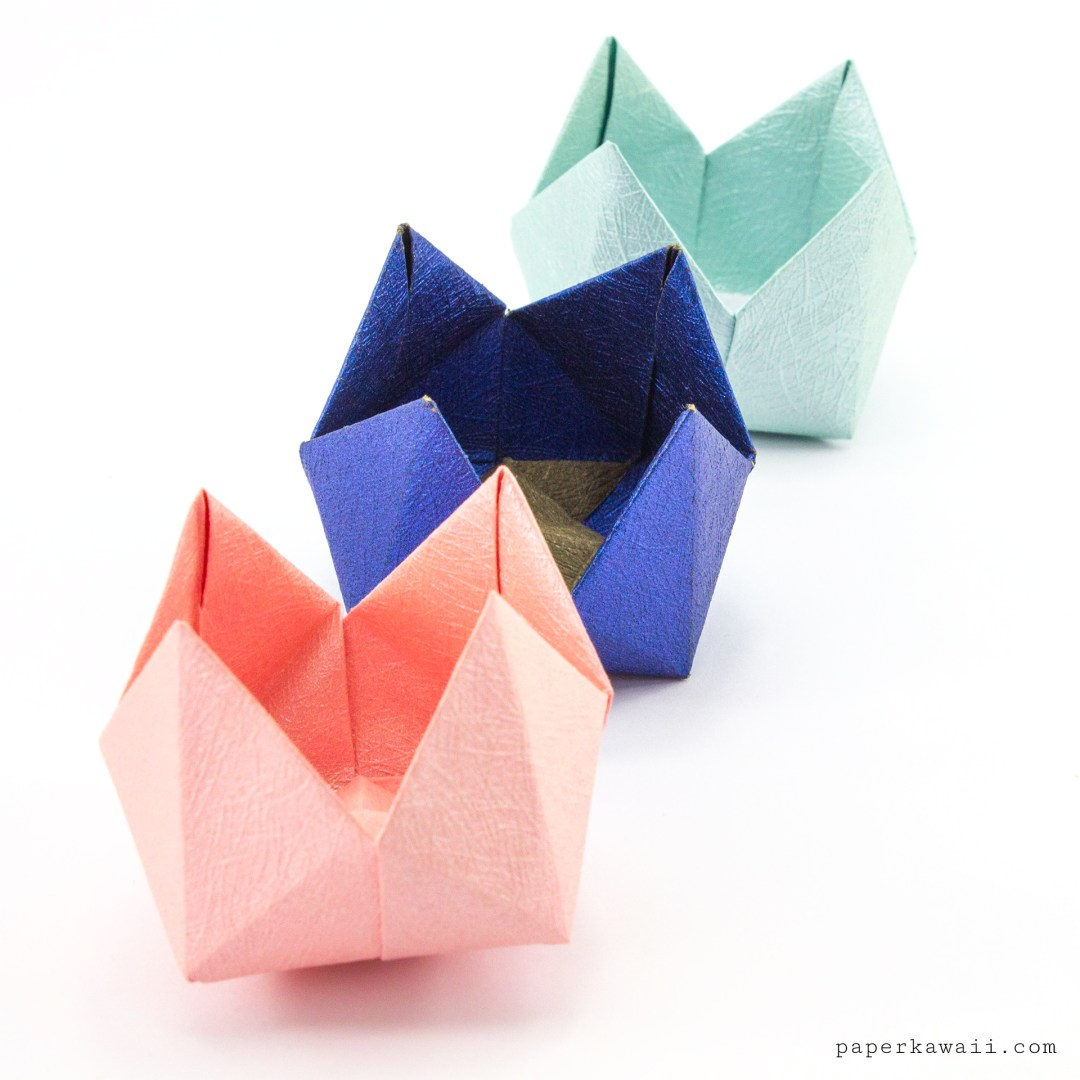 Origami Pinwheel Flower Bowl Tutorial via @paper_kawaii