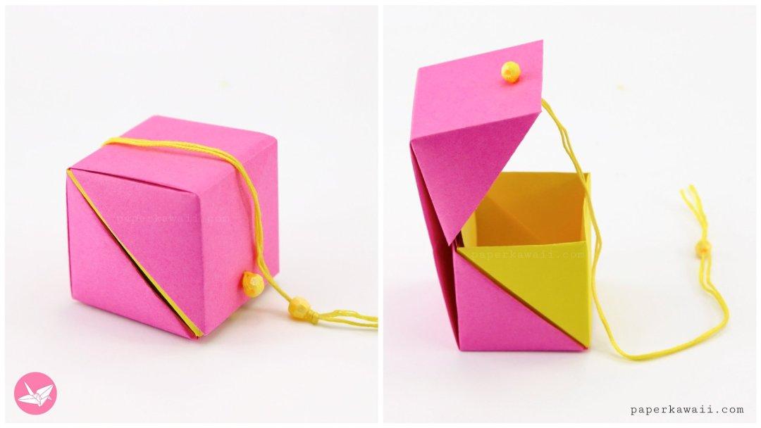 Hinged Origami Box - Cube Version Tutorial via @paper_kawaii