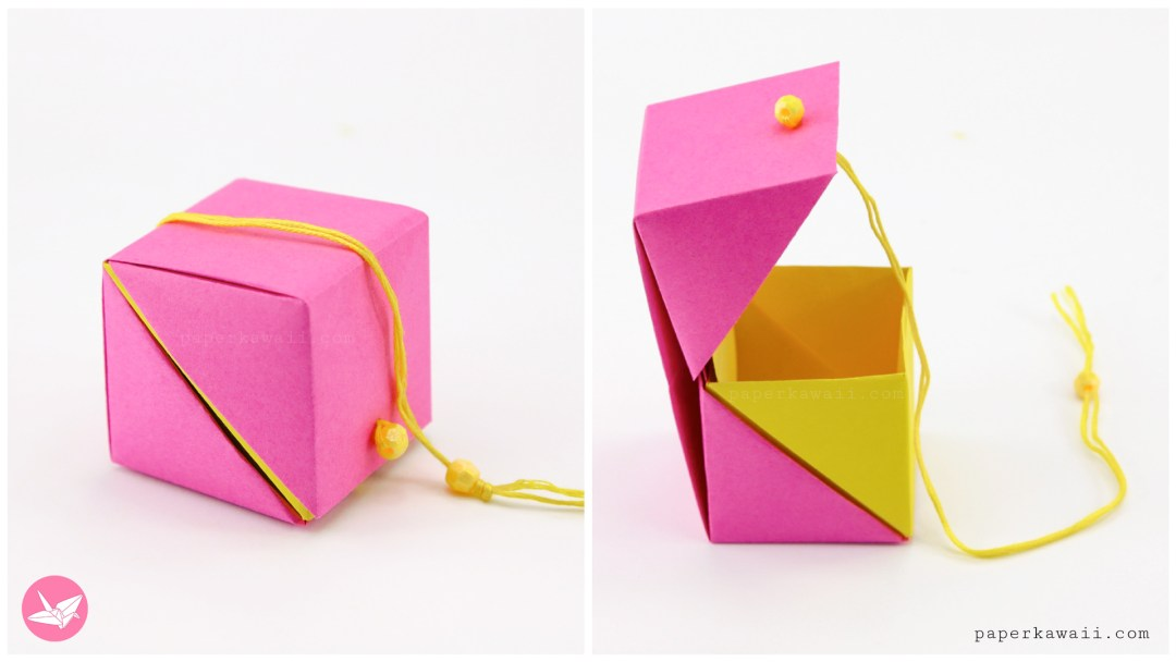 Here Are The Instructions On How To Fold A Cube Shaped Origami Gift Box With Hinged Lid Using Two Sheets Of Paper No Glue Is Required For This