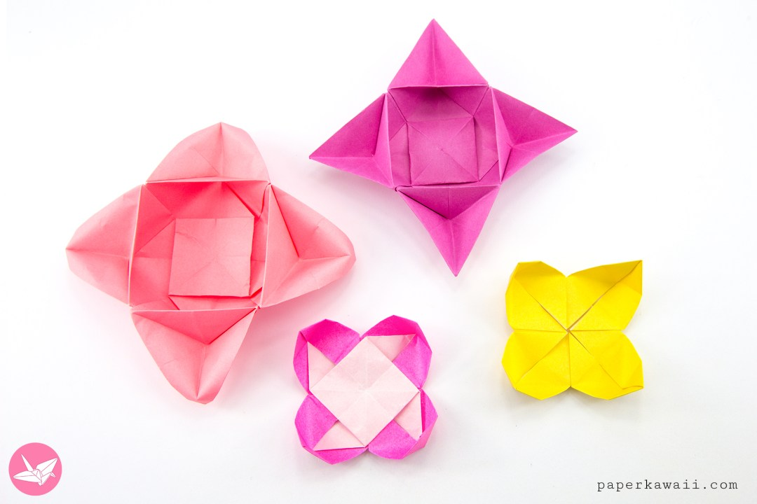 Origami star flower bowl box tutorial paper kawaii the origami star flower bowls with the little origami pinwheel flowers that they are based on mightylinksfo