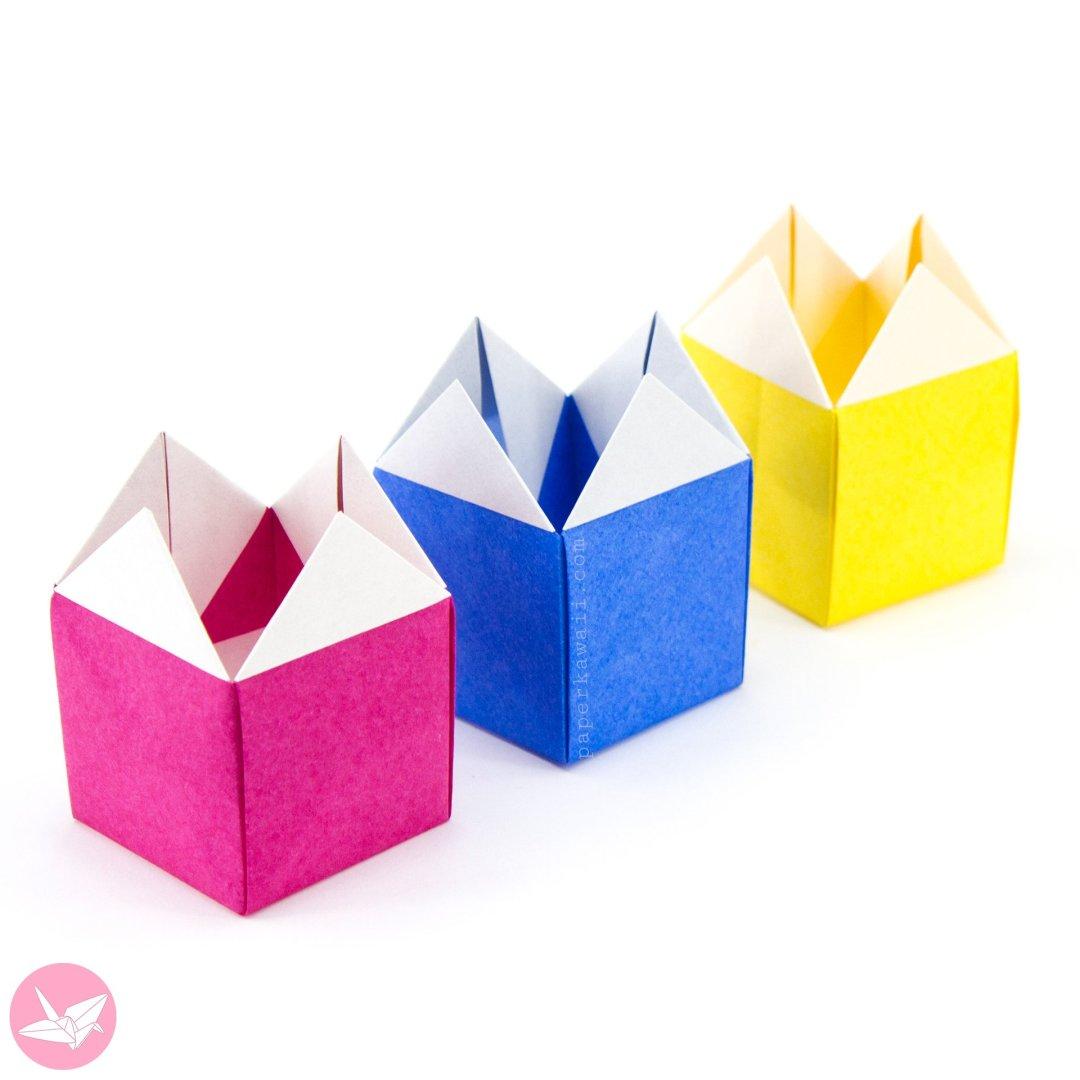 Origami Stackable House Box Tutorial via @paper_kawaii