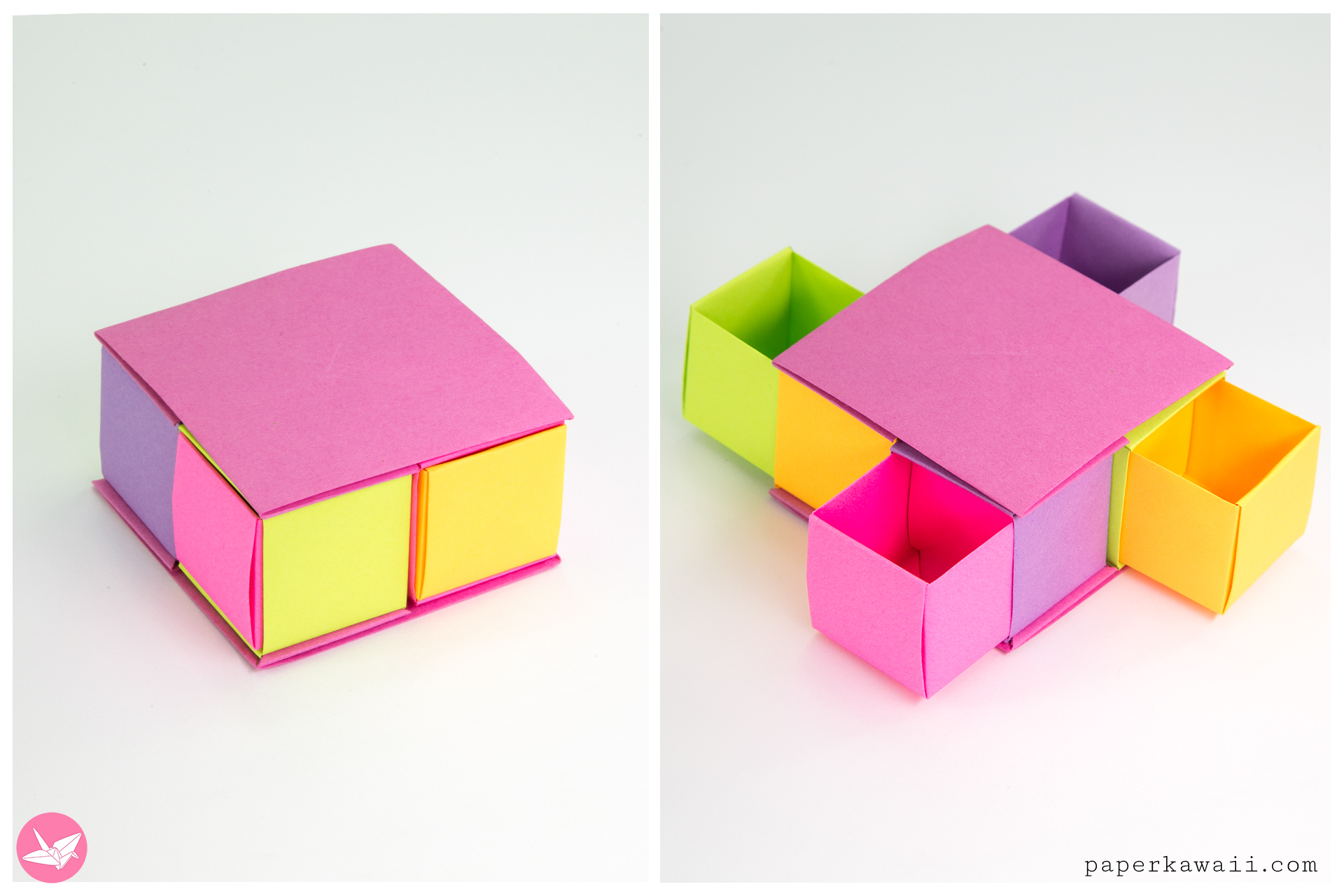 Origami Secret Drawer Box Tutorial - Tetra Box - Paper Kawaii - photo#12