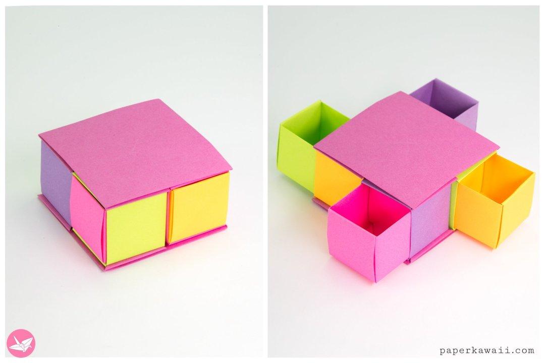 Origami Secret Drawer Box Tutorial - Tetra Box via @paper_kawaii