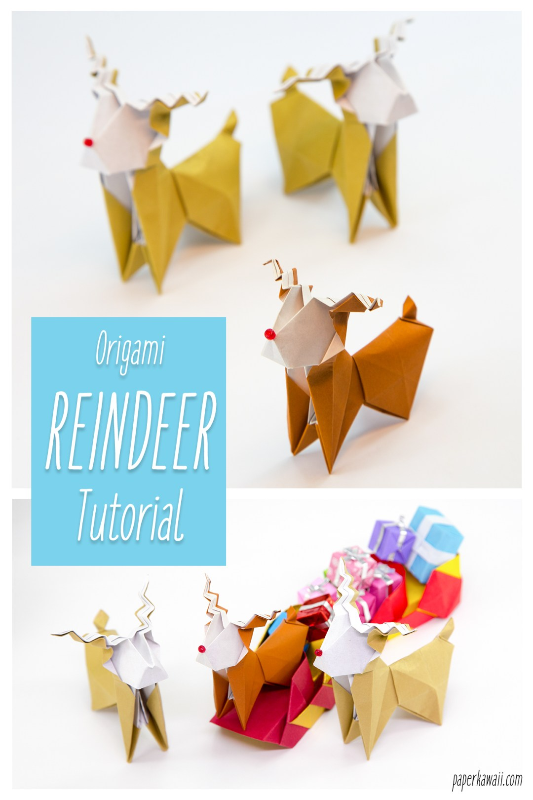 Christmas Origami Reindeer - Easy origami - How to make an easy ... | 1620x1080