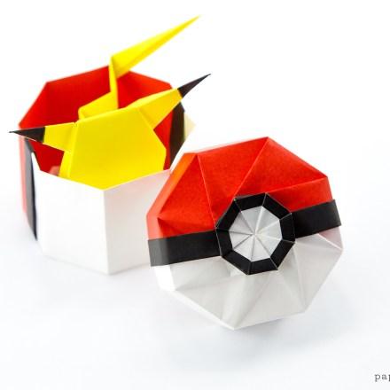 Origami Pokeball Box Tutorial via @paper_kawaii