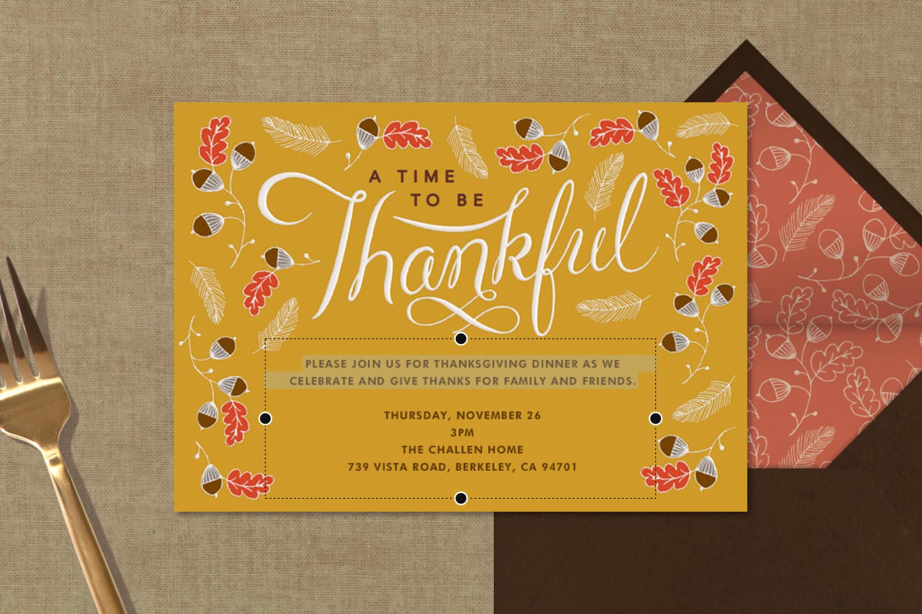thanksgiving invitation wording ideas