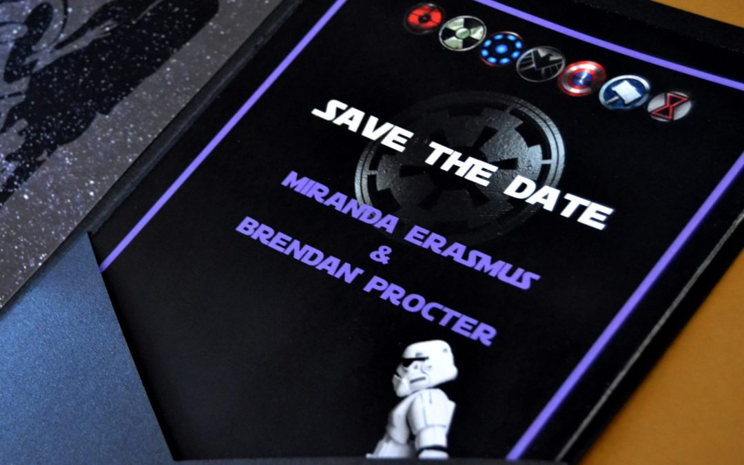 Miranda and Brendan get Star Wars Inspired Pocket Invitations
