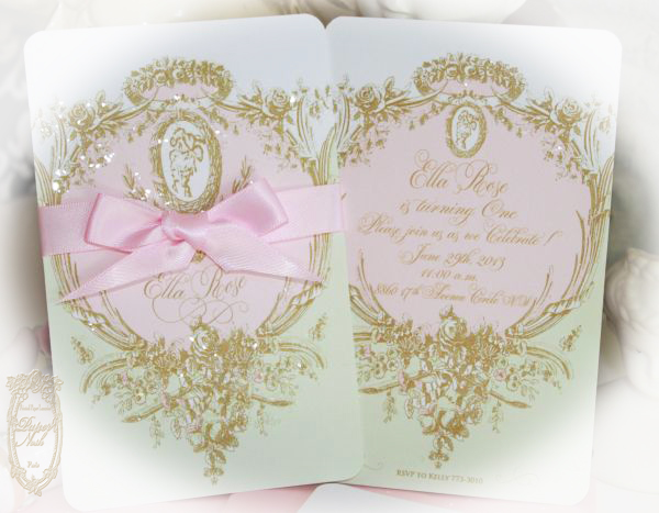Marie Antoite Laduree Inspired Mint Macaron Cameo Silhouette Wedding And Event Invitations