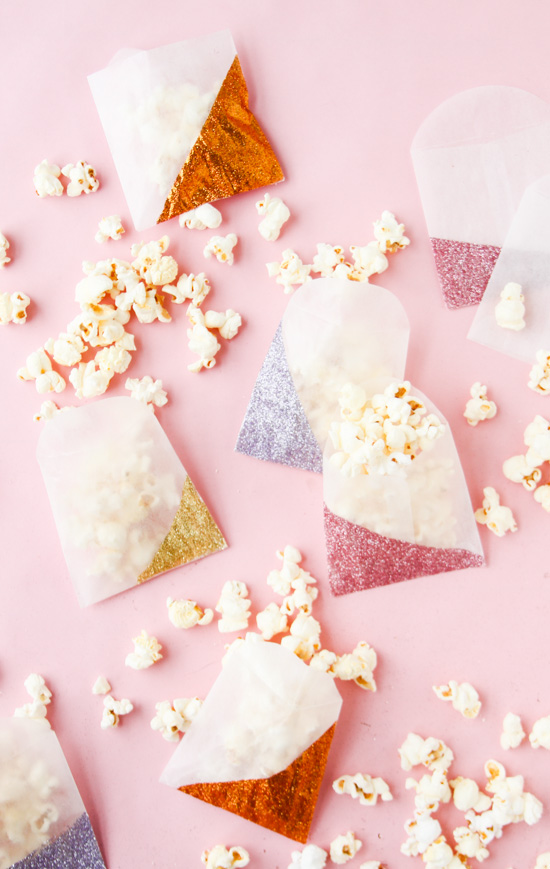 DIY Color Blocked Glitter Bags for V-Day