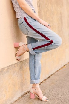 Try This Trend: DIY Side-Stripe Pants. They're no-sew! Click through for the tutorial. #nosew #pants #stripes #fashion #fashiondiy #diy #tutorial