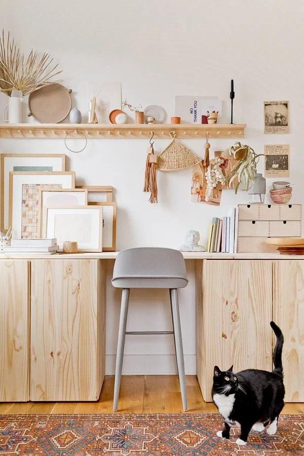 Raw wood desk idea in eclectic workspace