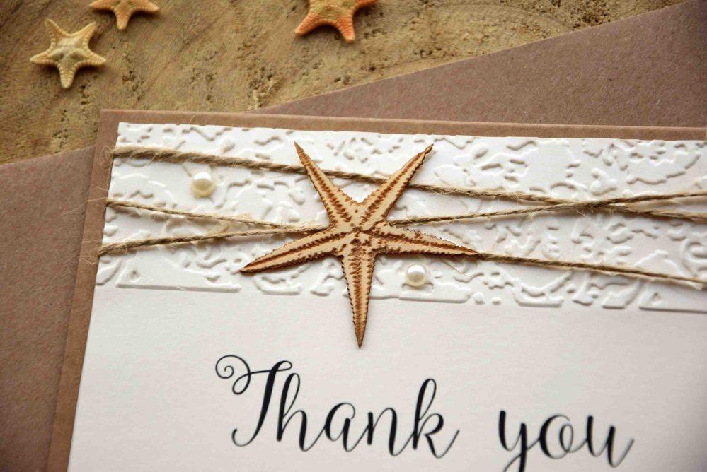 Rustic Beach Wedding Thank You Cards