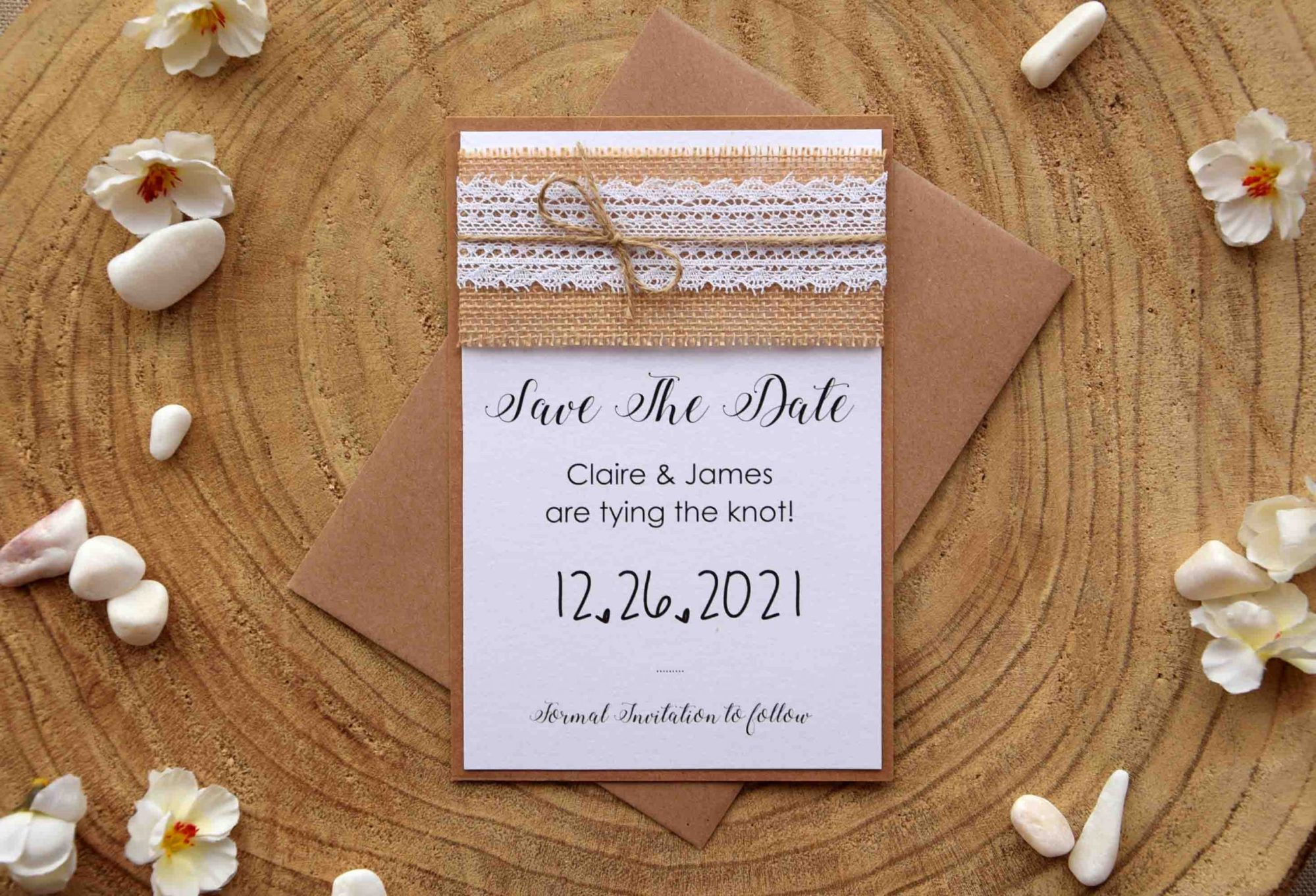 Rustic Lace Save The Date Wedding Cards