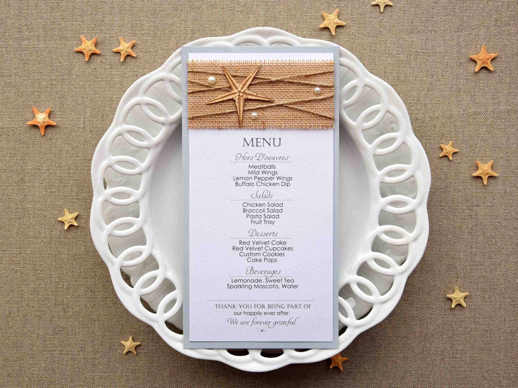 Rustic Beach Wedding Dinner Menu