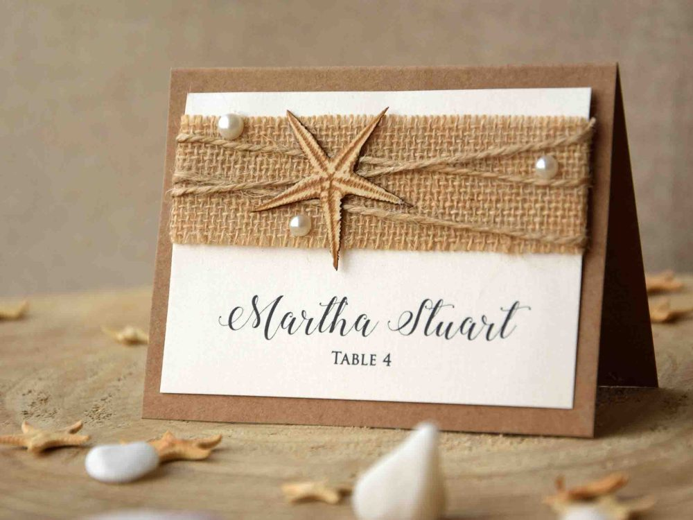 Ivory Beach Wedding Place Cards