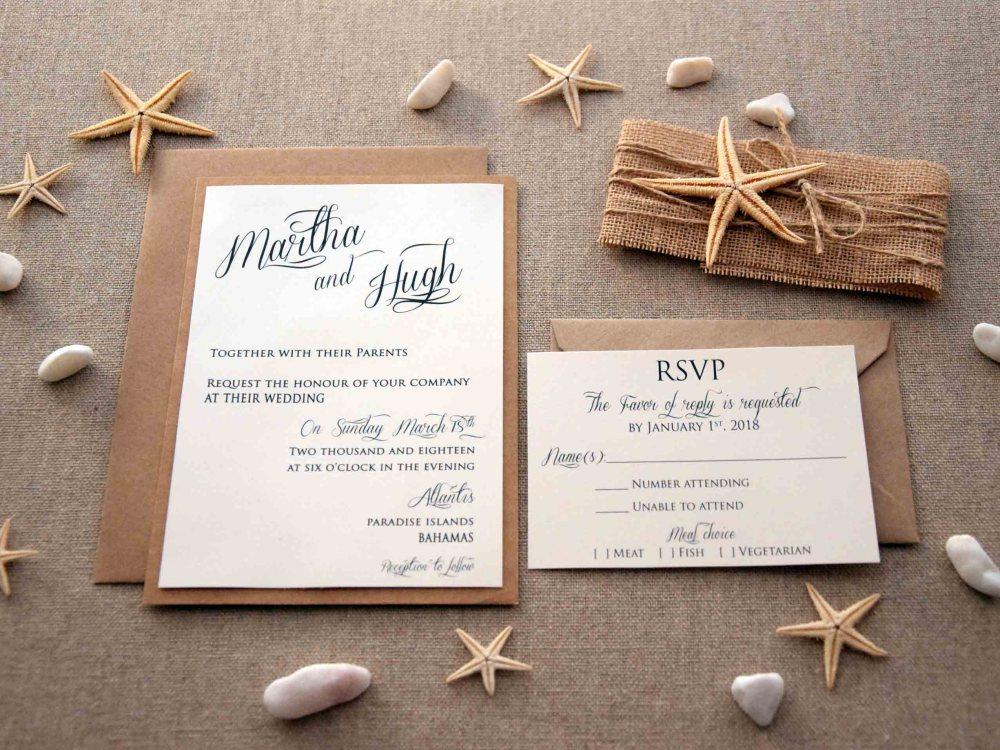 Simple Beach Wedding Invitations
