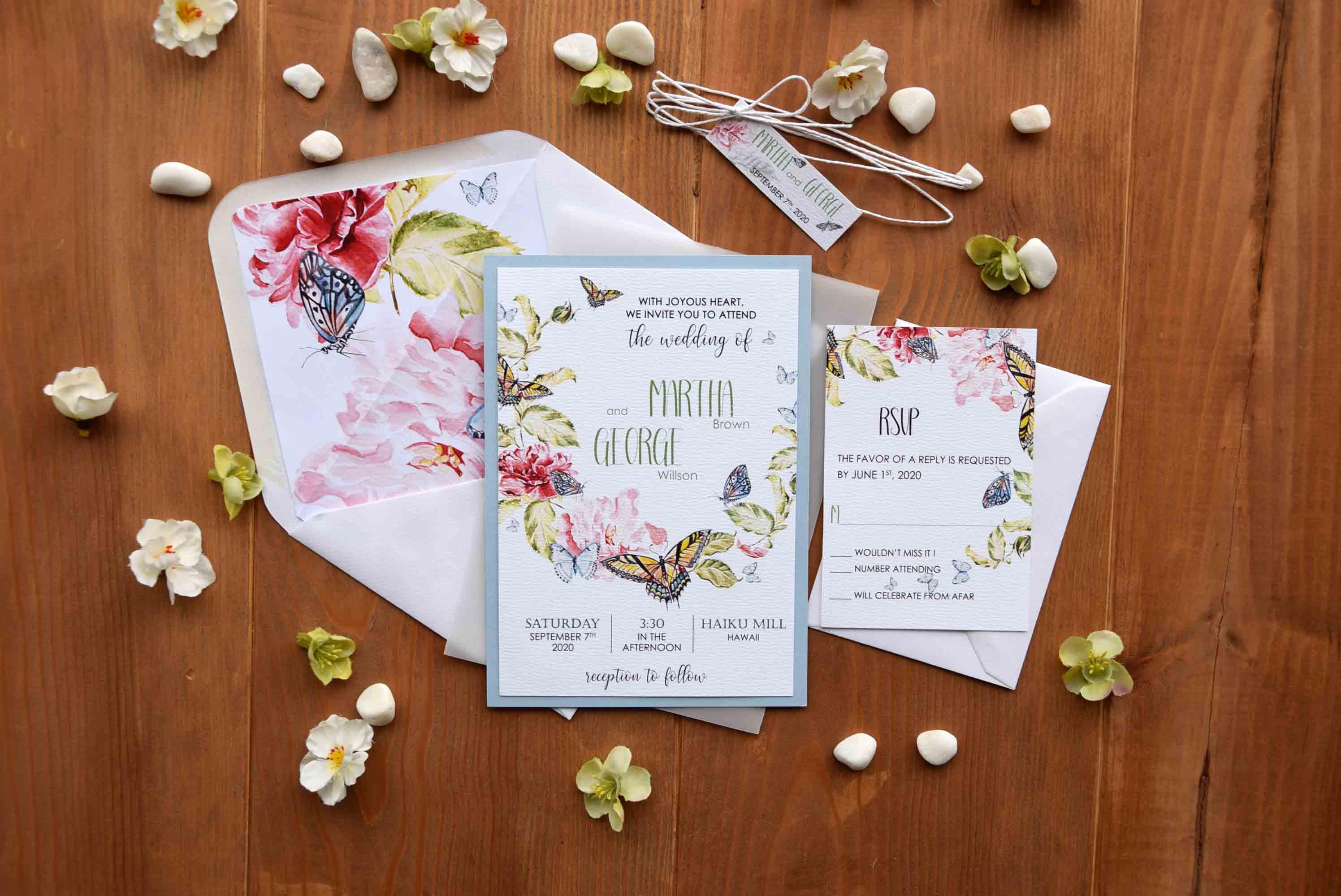 Butterfly Wedding Invitations Floral Wedding Invitations