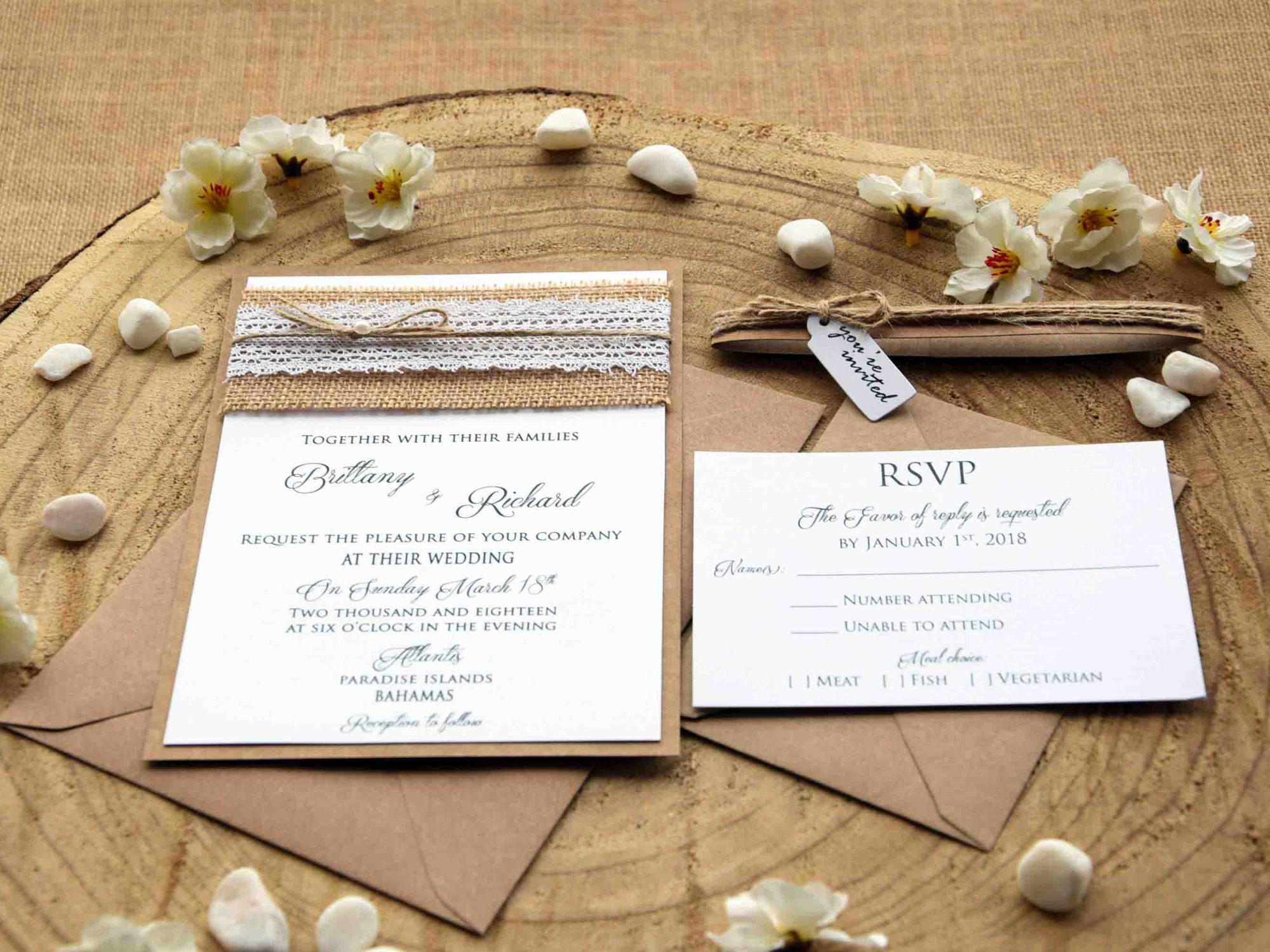 Burlap Lace Wedding Invites