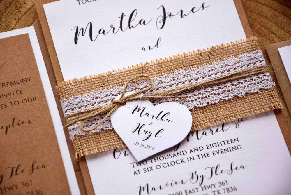 Rustic Lace Wedding Invites, Personalized Wedding Invitations