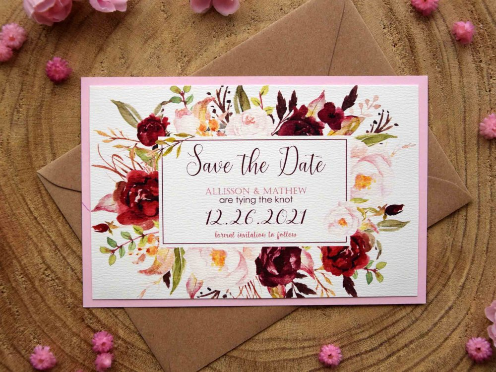 Floral Wedding Save The Date Cards