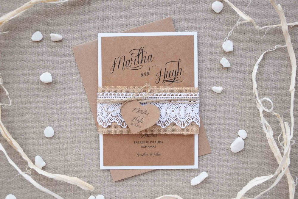 Burlap and Lace Wedding Invitations