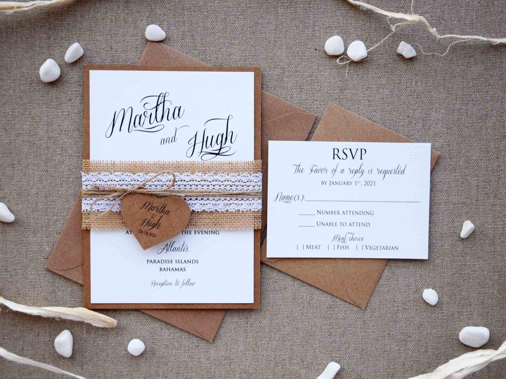 Rustic Lace Wedding Invites