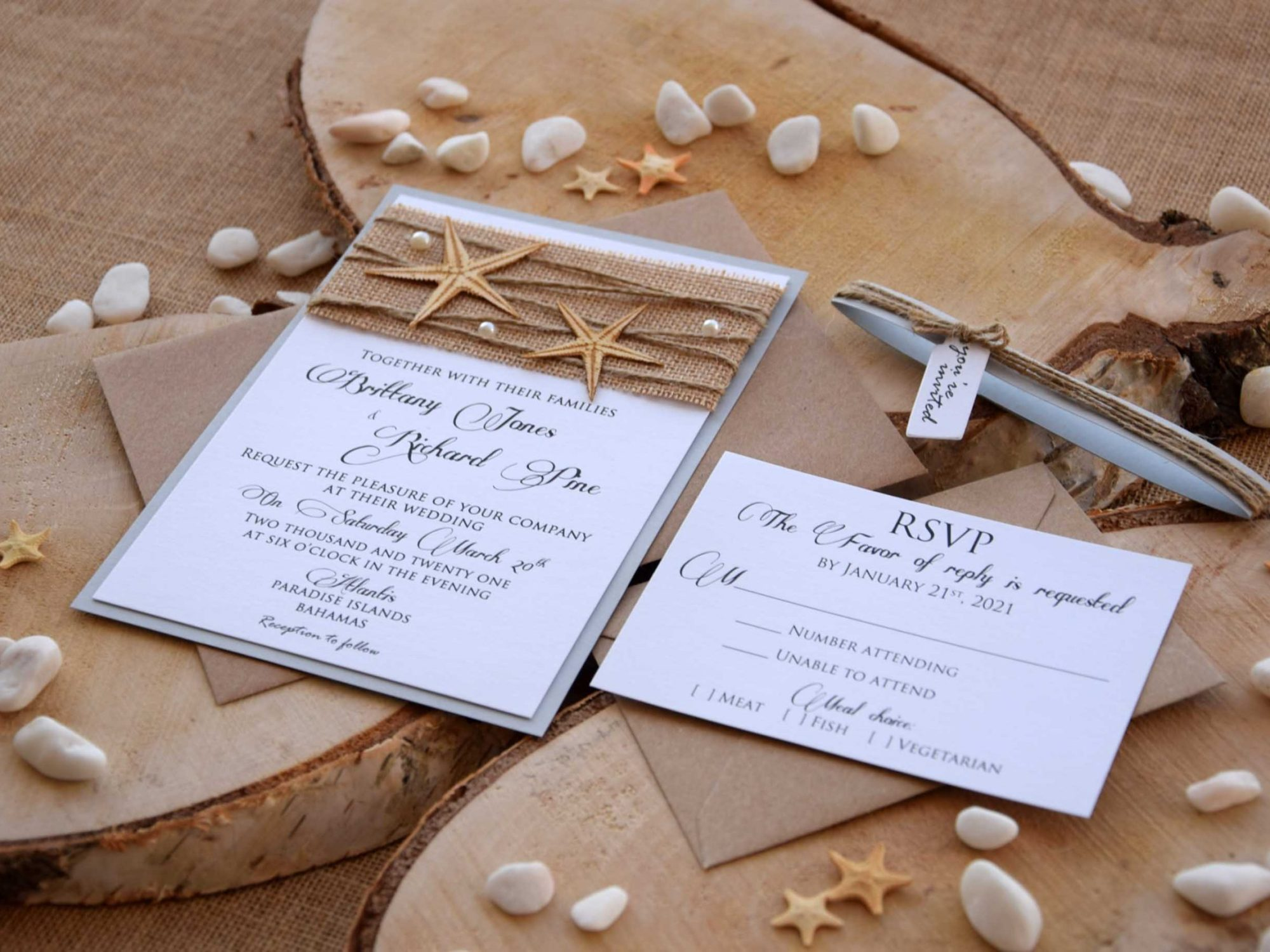 Rustic Beach Wedding Invitations