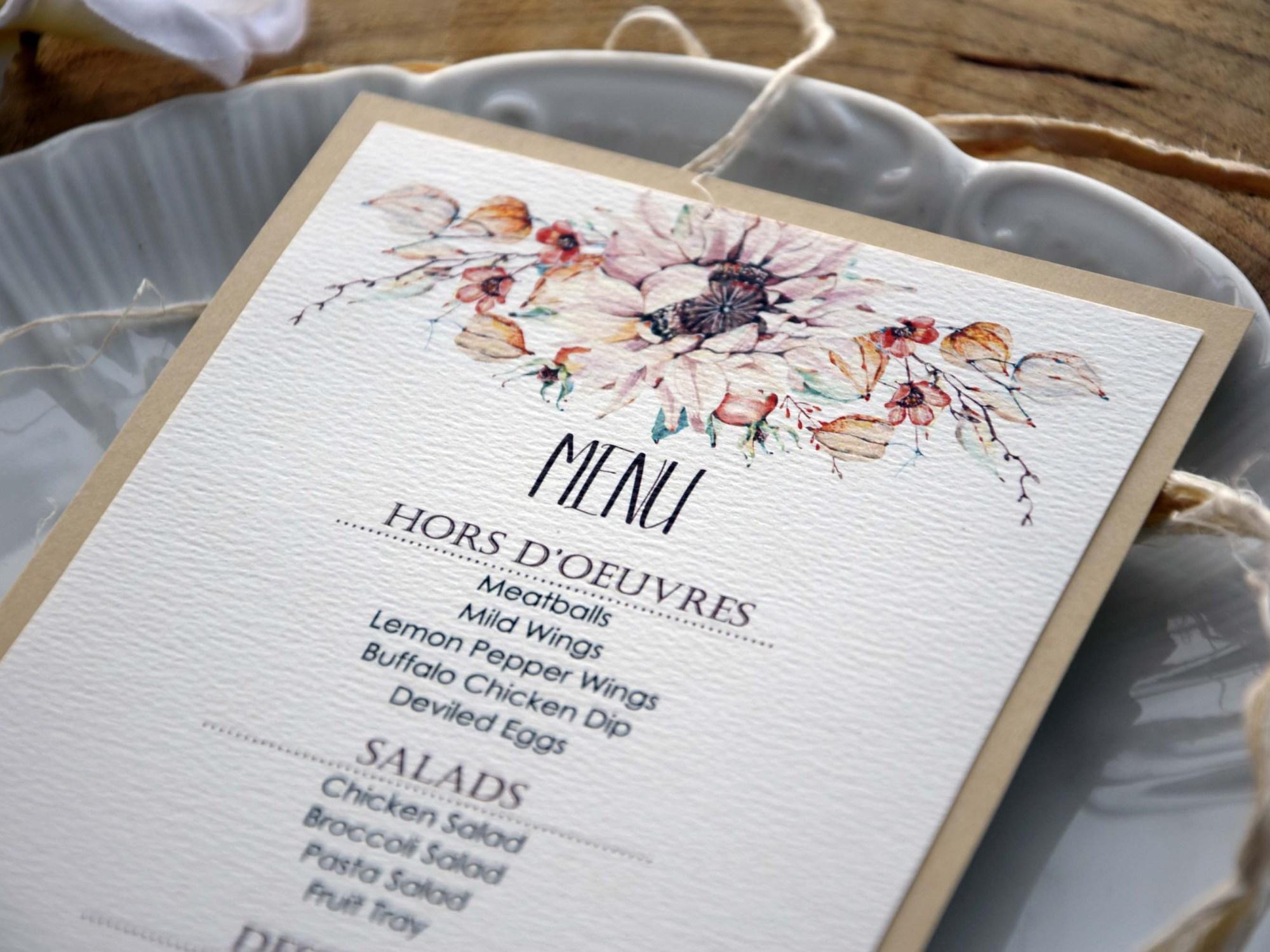 Autumn Floral Wedding Dinner Menu