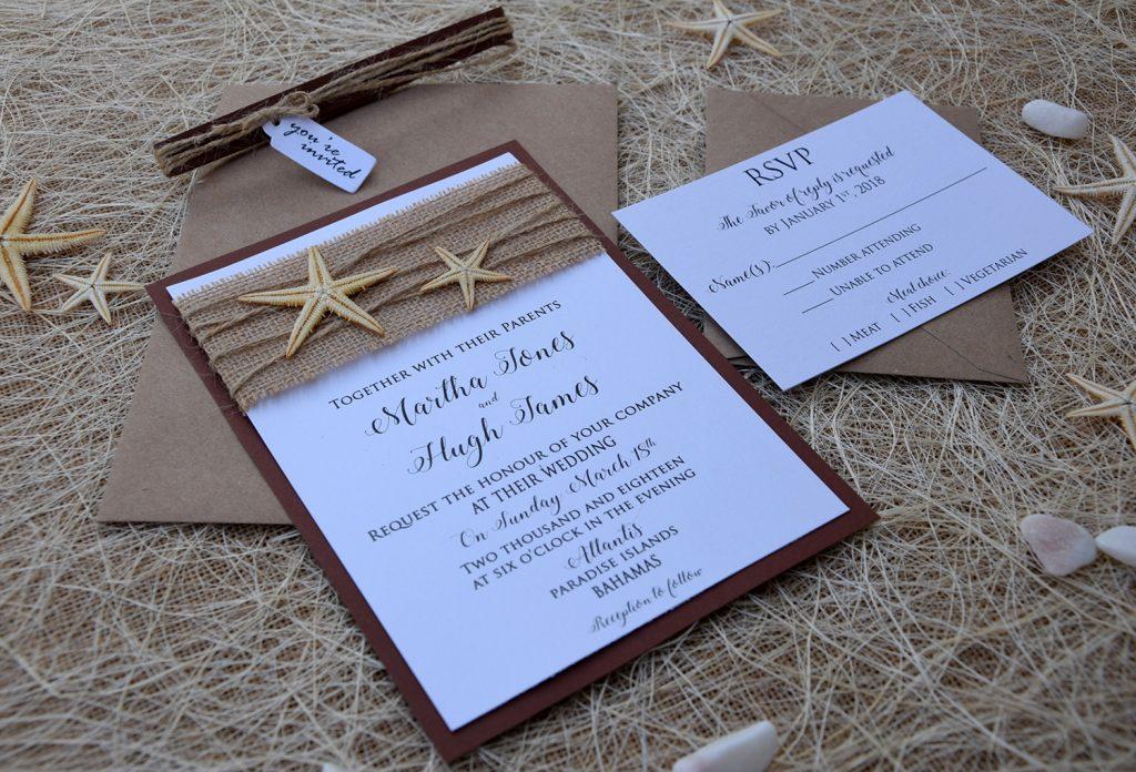 Starfish Wedding Invitations, Rustic Burlap Beach Wedding Invitations