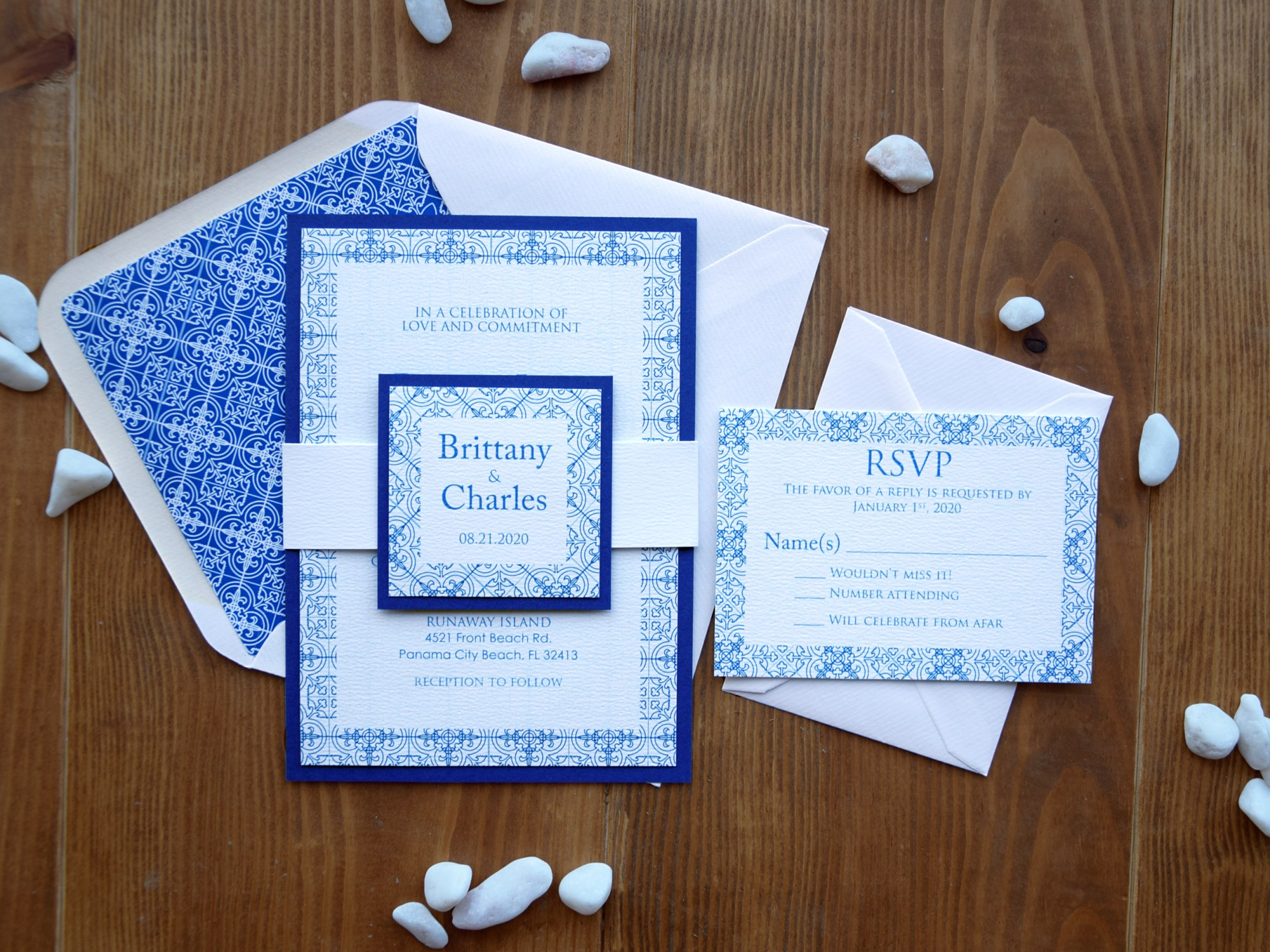 Portuguese Tile Wedding Invitations
