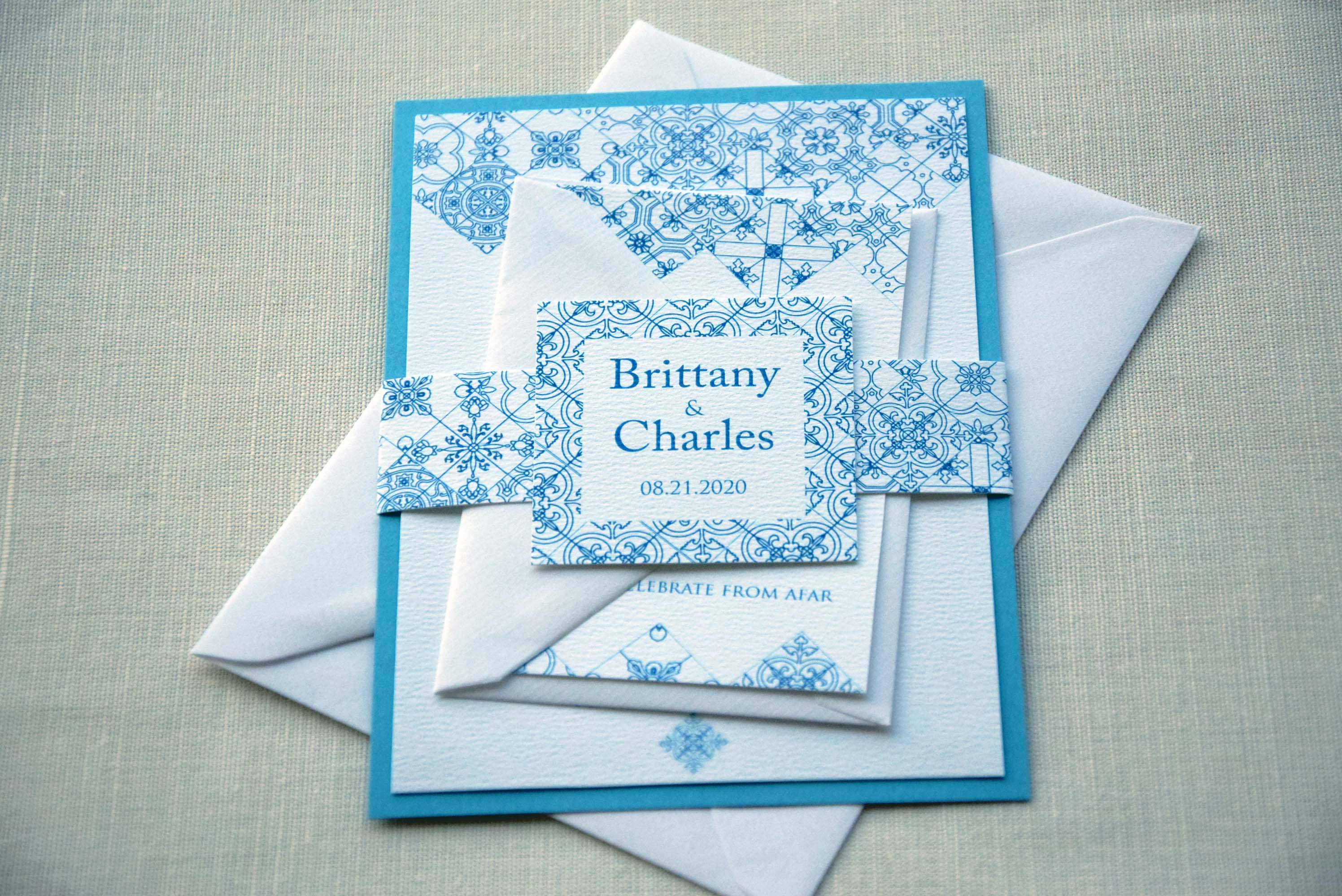 Turquoise Tile Wedding Invitations Blue Tile Wedding Invitations