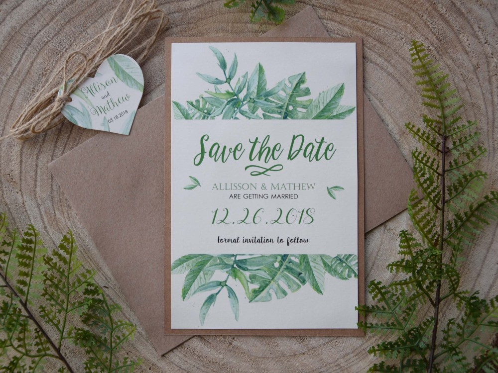 Greenery Wedding Save The Dates