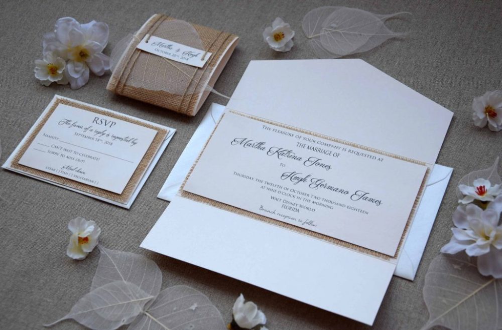 Ivory Pocketfold Wedding Invitations, Personalized Burlap Invitations
