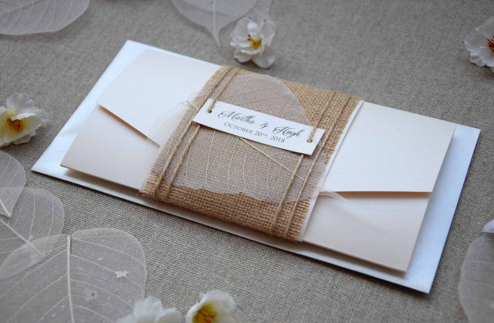 Ivory Pocketfold Wedding Invitations