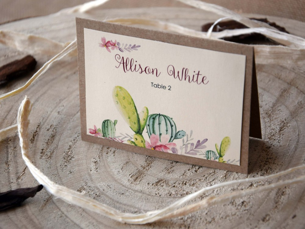 Cactus Wedding Place Cards