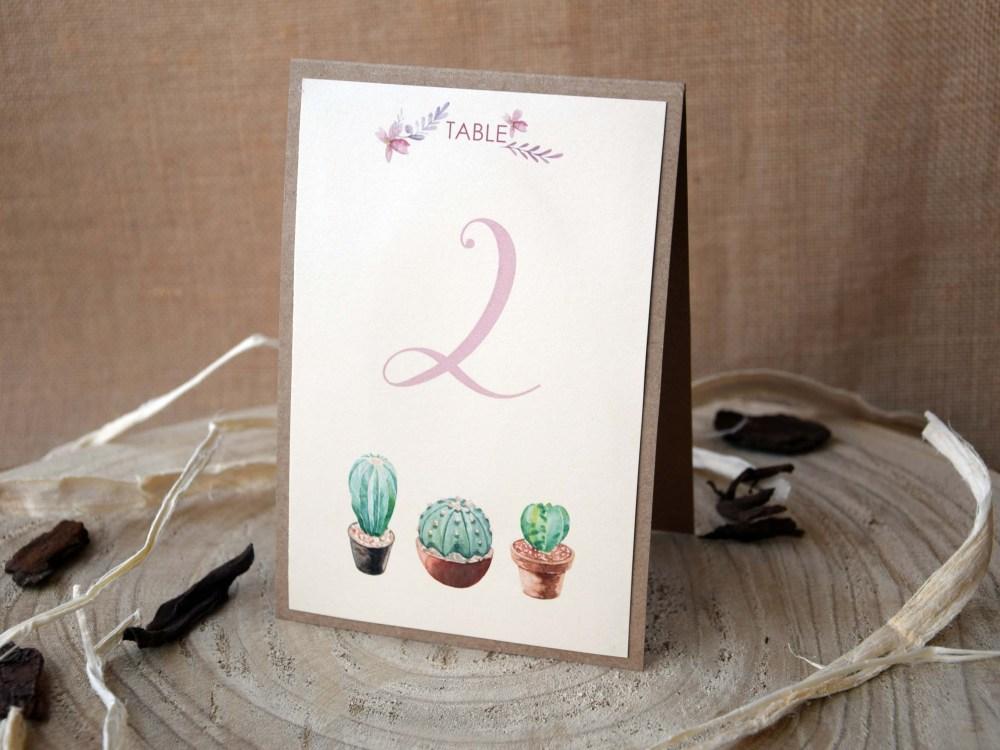 Cactus Wedding Table Numbers