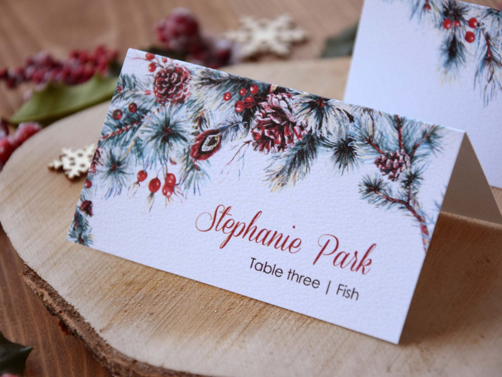 Winter Watercolor Folded Wedding Place Cards