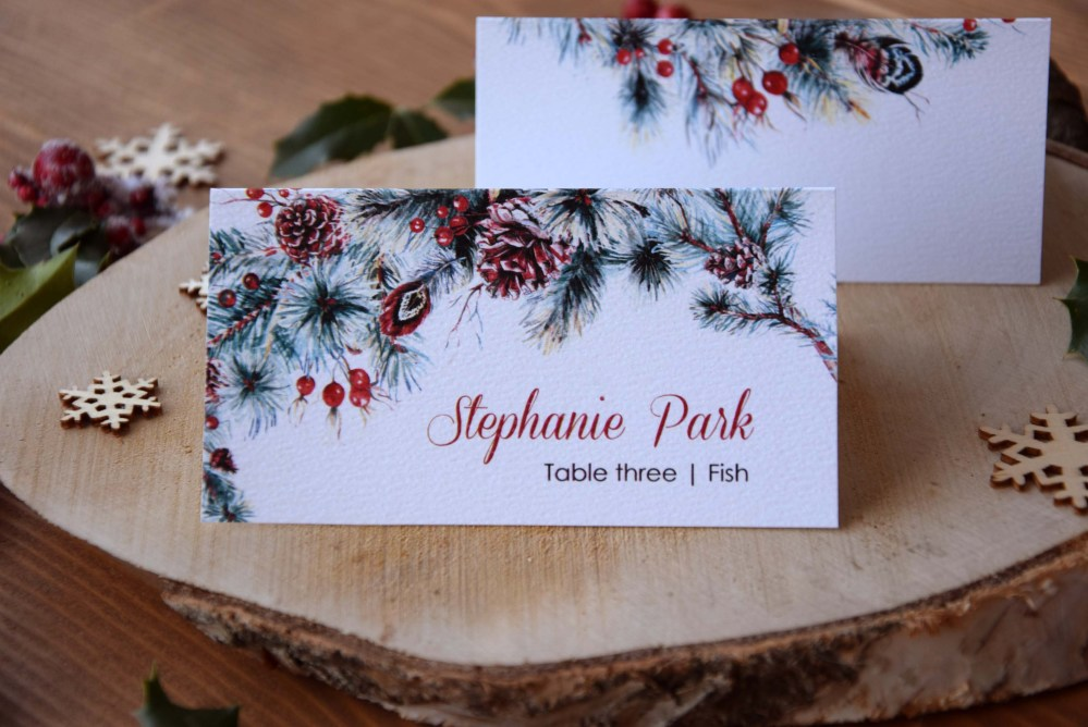winter watercolor folded wedding place cards - Folded Place Cards