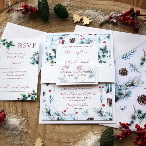 Elegant Christmas Wedding Invitations